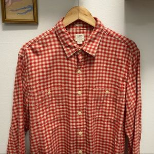 J Crew Pink / White Button Up Flannel